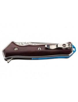 Einhandmesser mit Damastklinge und rotem Sandelholzgriff mit Clip von hinten