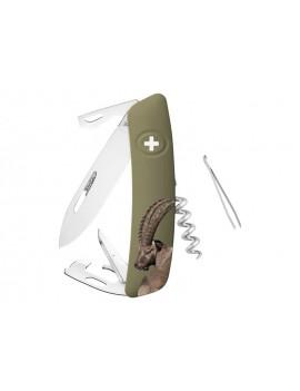 Schweizer Taschenmesser mit geöffneten Werkzeugen und Motiv auf der Griffschale